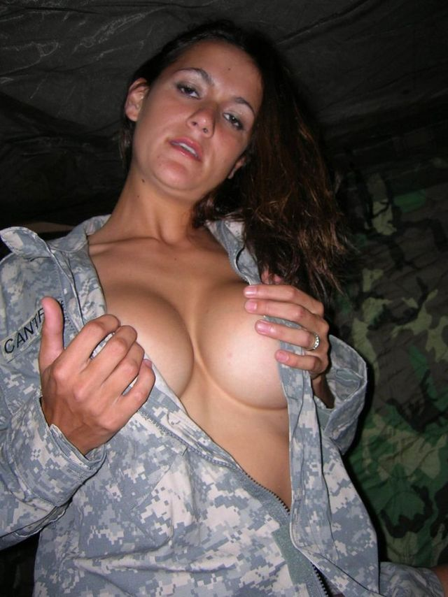 Naked women in uniform military for