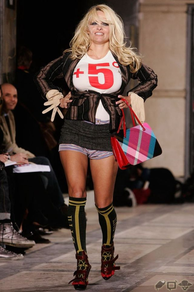 Pamela's Anderson breast pops out during a fashion show in France. NSFW