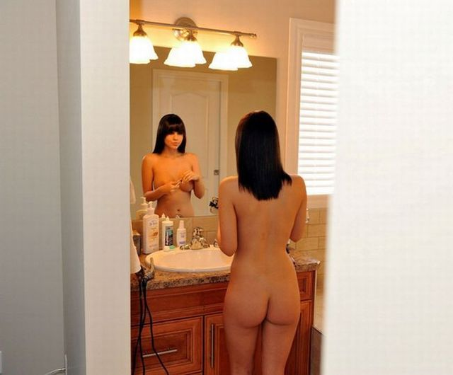 Very hot babe looking at mirror - 02