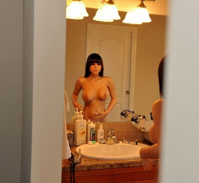 Very hot babe looking at mirror - 08
