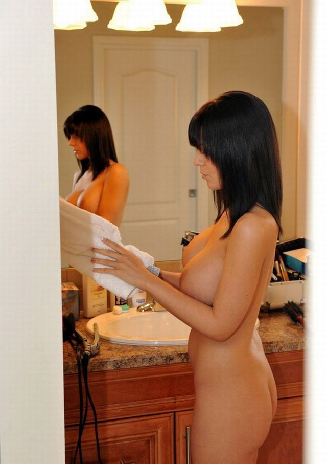 Very hot babe looking at mirror - 10