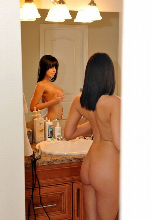 Very hot babe looking at mirror - 12