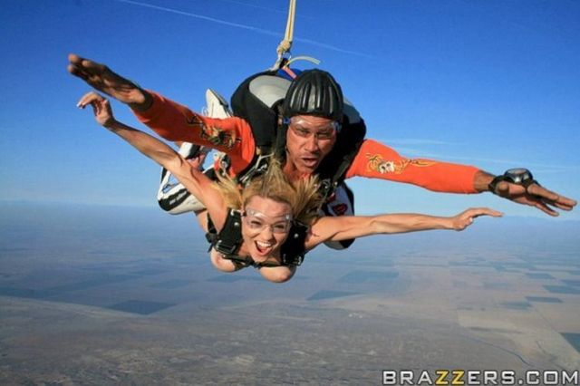 Kagney and Krissy in naked skydiving - 07