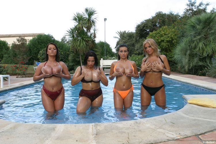 Big breasted beauties in the pool. I'd swim with them with great pleasure - 07