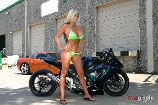 Love Gisele on a cool sport bike
