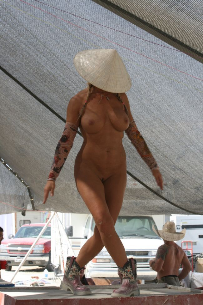 At burning man nude in public are