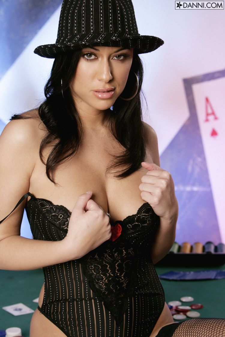 Cassia Riley playing tricks on the poker table - 05
