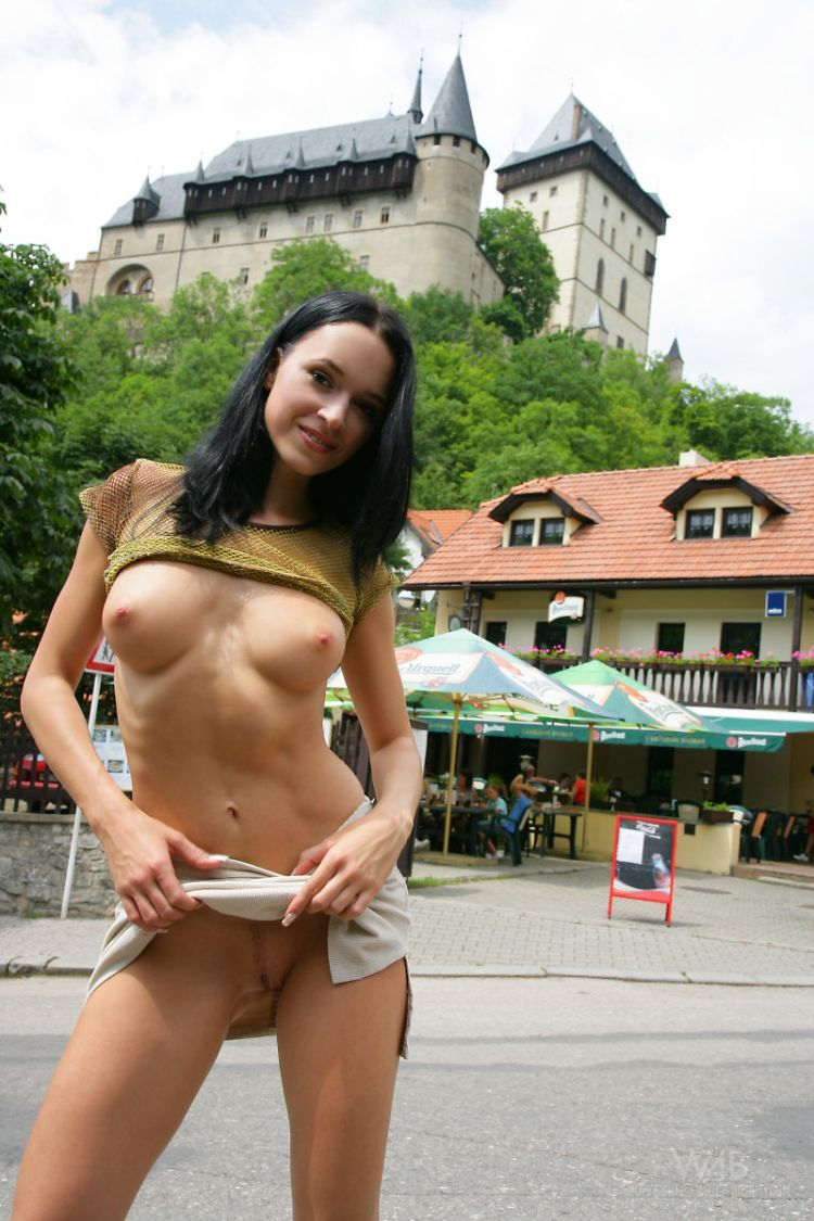 A girl who isn't afraid of posing nude in public places - 10