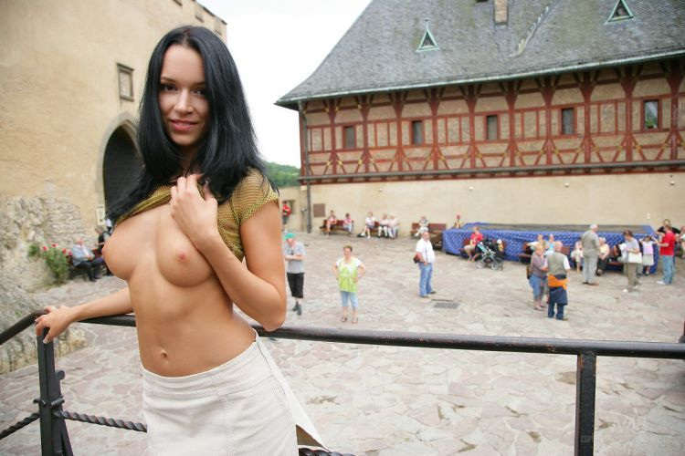 A girl who isn't afraid of posing nude in public places - 14