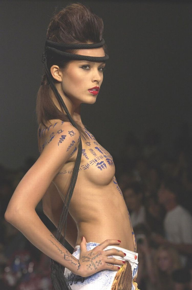 Painted Petra Nemcova topless on the catwalk - 05