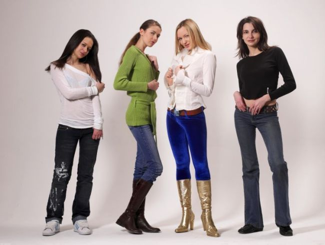 The four Russian girls in clothes and without - 00