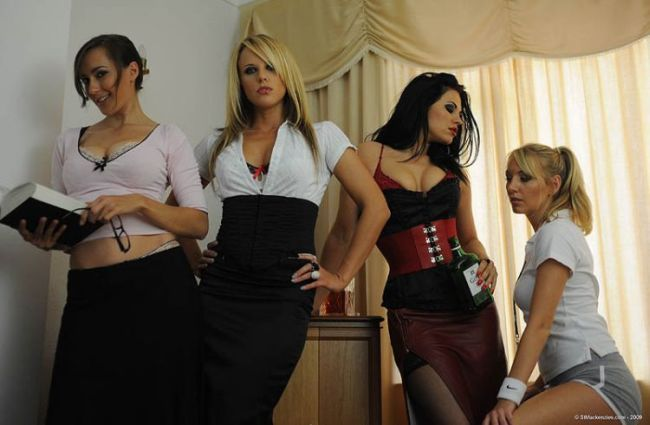 Four hot muchachas arranged a party - 00