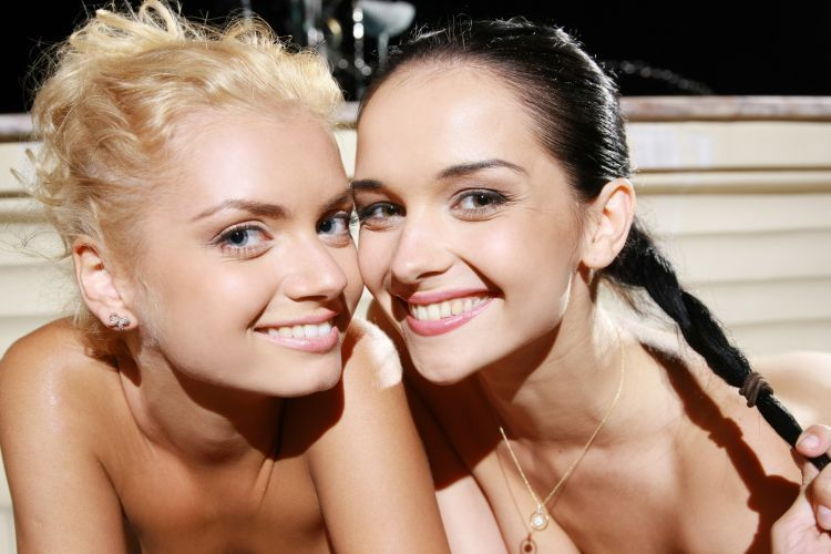 Two gorgeous girlfriends frolicking in the fountain - 00