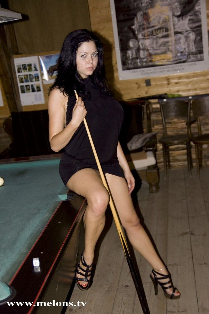 Playing billiard with naked busty Shione Cooper - 01