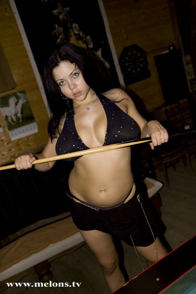 Playing billiard with naked busty Shione Cooper - 02