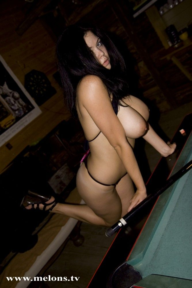 Playing billiard with naked busty Shione Cooper - 06