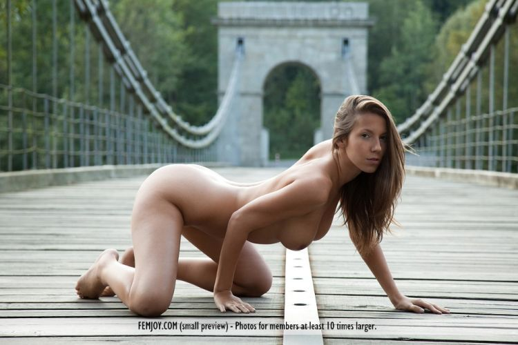 Gorgeous beauty Lizzie posing on the bridge - 06