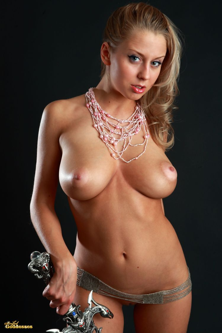 Blonde with killer tits and beautiful sword - 01