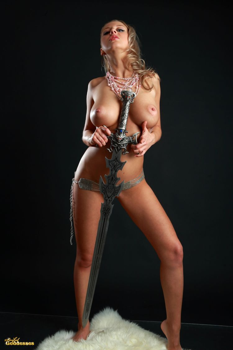 Blonde with killer tits and beautiful sword - 03