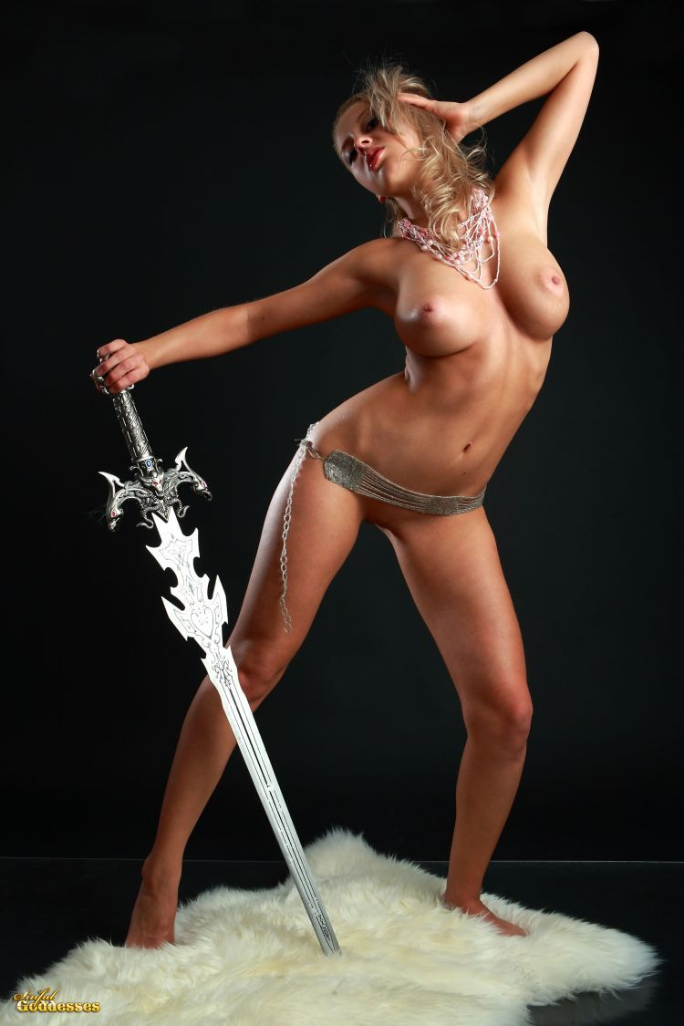 Blonde with killer tits and beautiful sword - 05