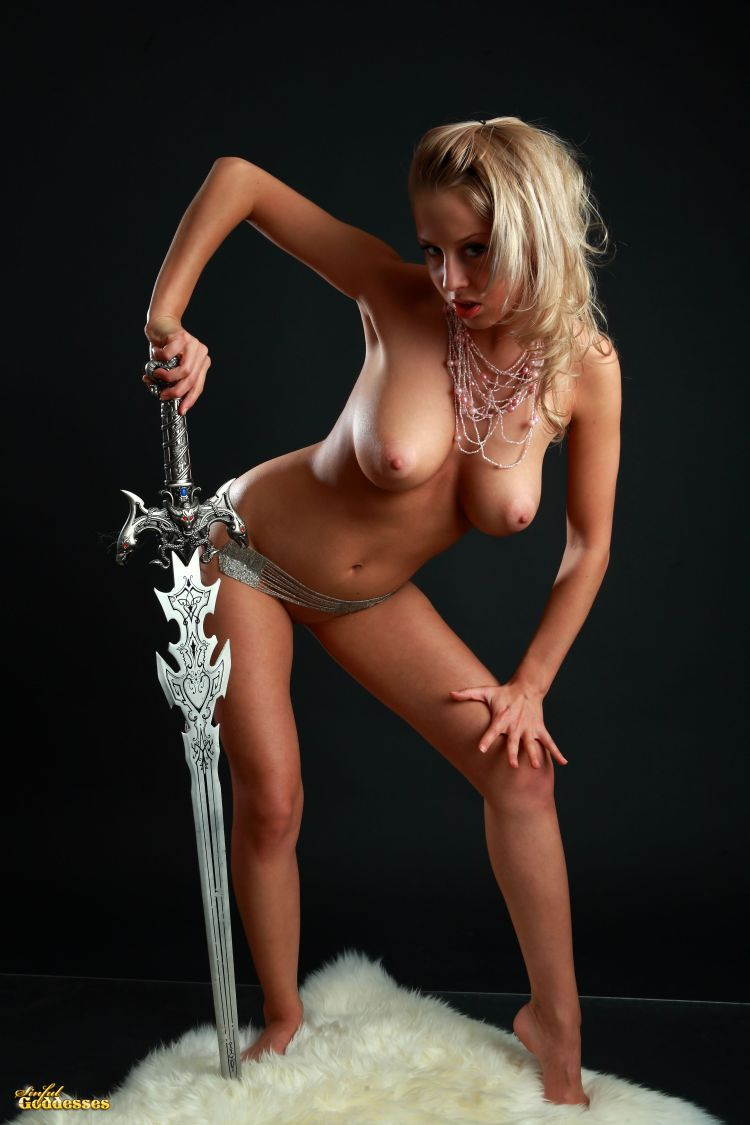 Blonde with killer tits and beautiful sword - 07
