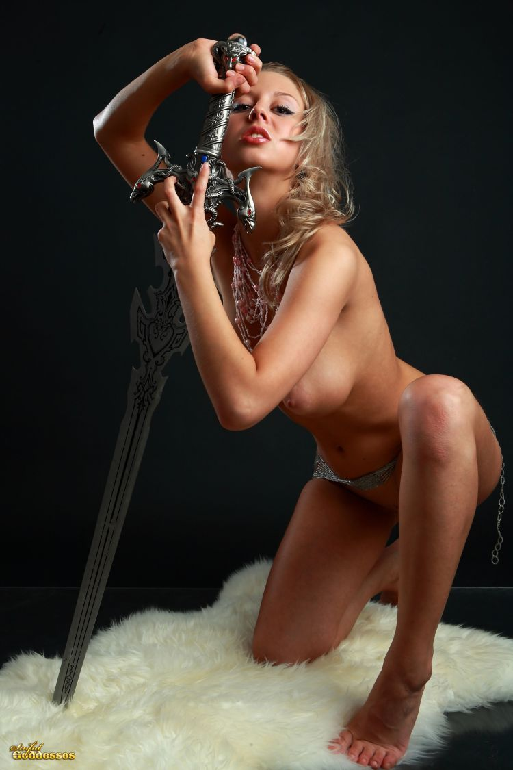 Blonde with killer tits and beautiful sword - 08