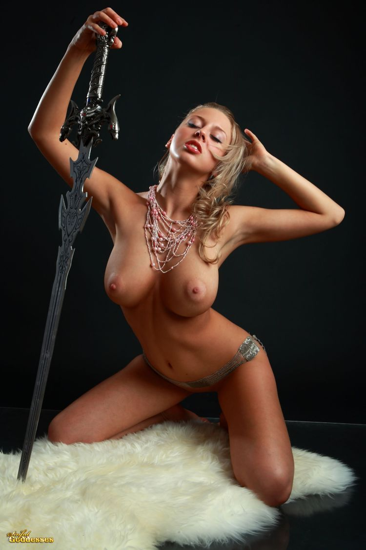 Blonde with killer tits and beautiful sword - 09
