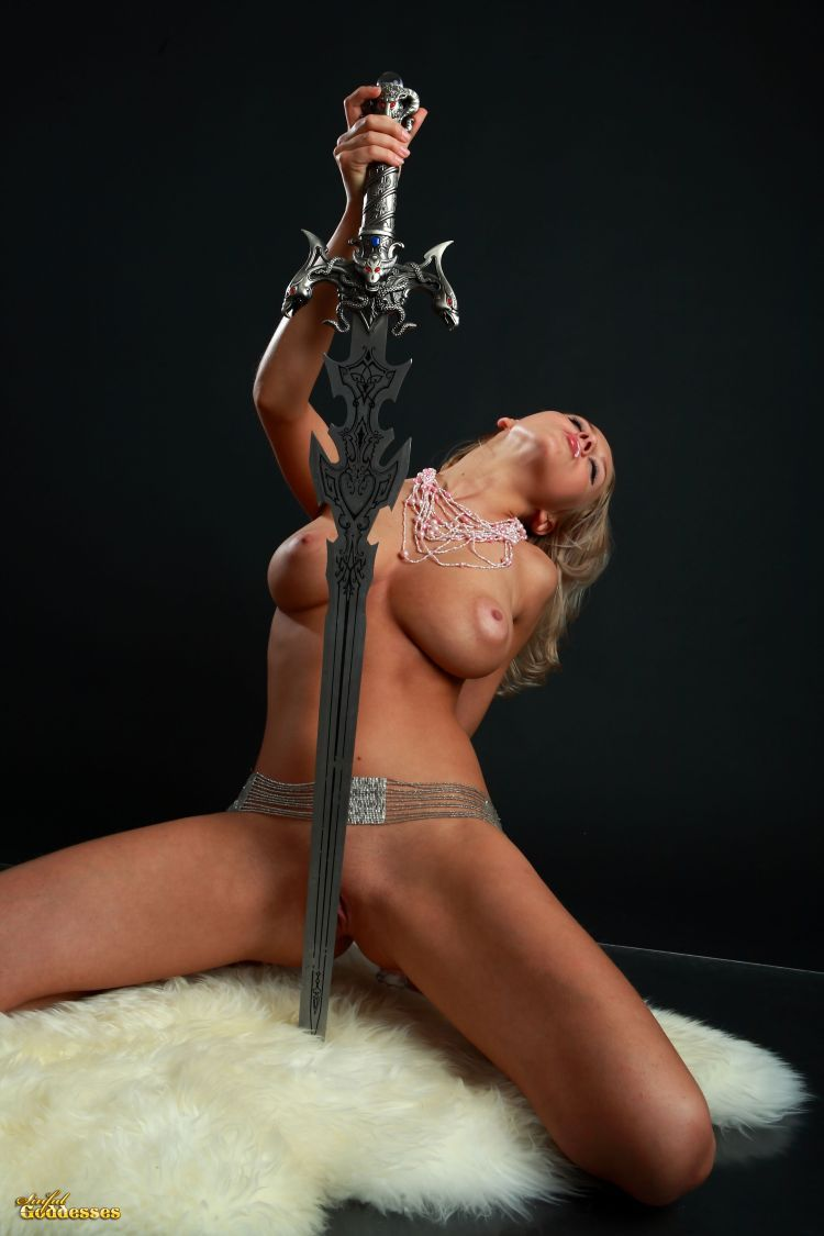 Blonde with killer tits and beautiful sword - 10