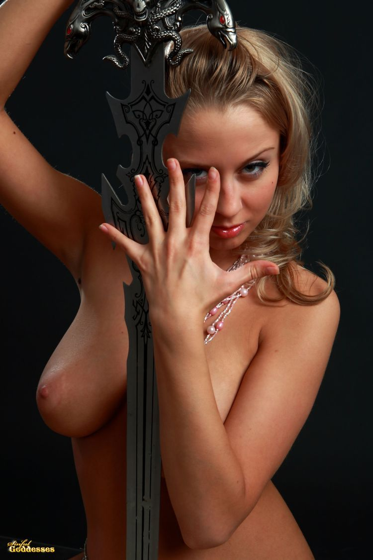 Blonde with killer tits and beautiful sword - 11
