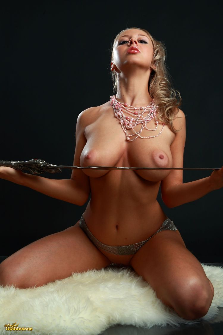 Blonde with killer tits and beautiful sword - 13