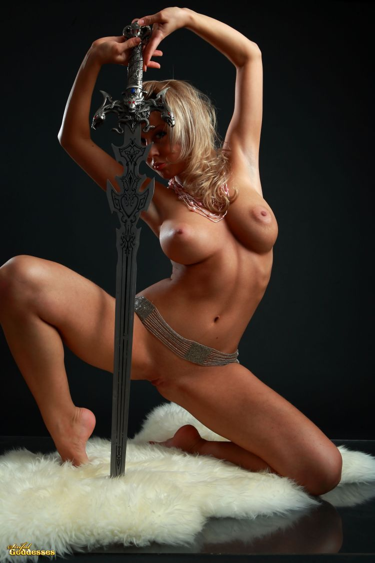 Blonde with killer tits and beautiful sword - 14