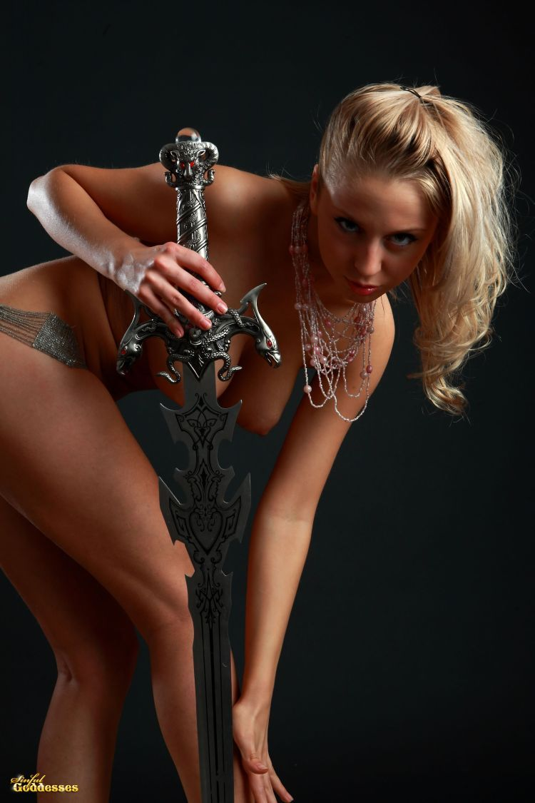 Blonde with killer tits and beautiful sword - 15