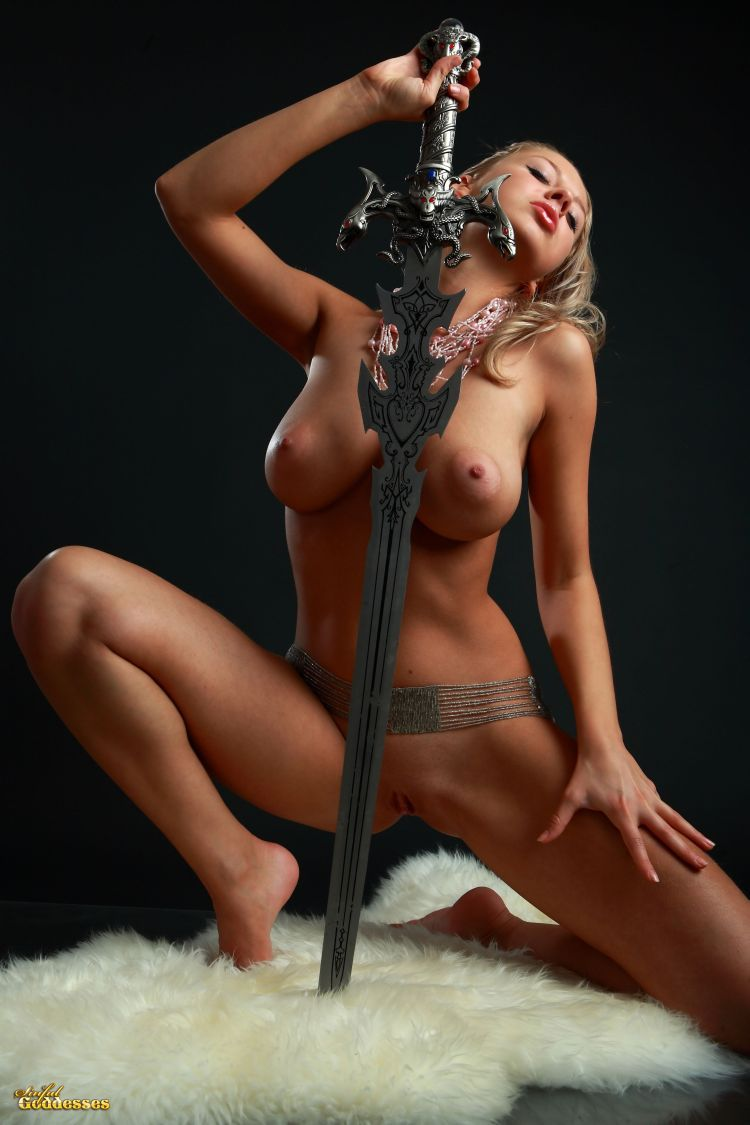 Blonde with killer tits and beautiful sword - 16