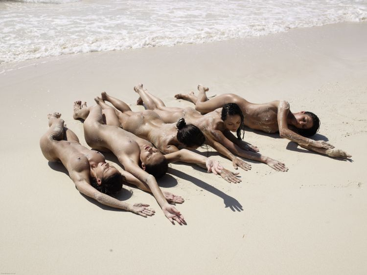 Five muchachas sunbathing at a beautiful beach - 11