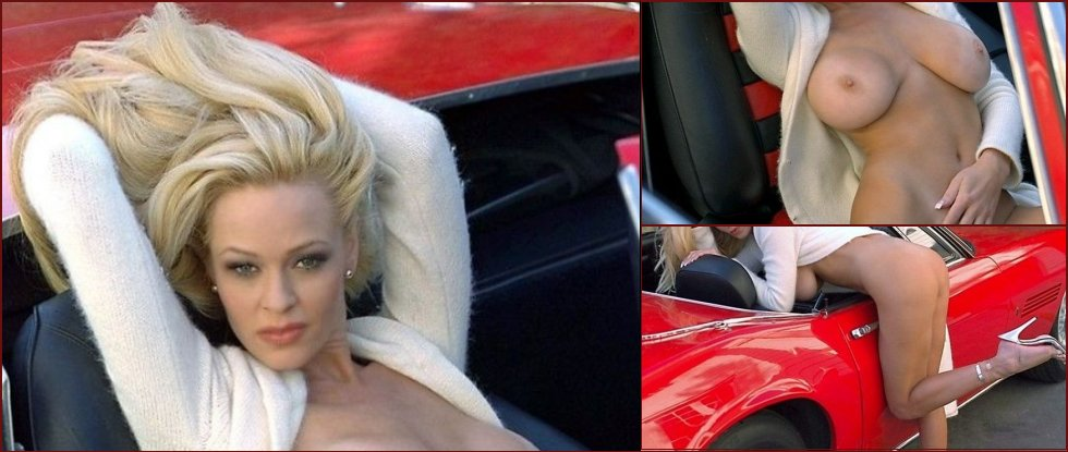 Glamorous blonde and a red car - 12