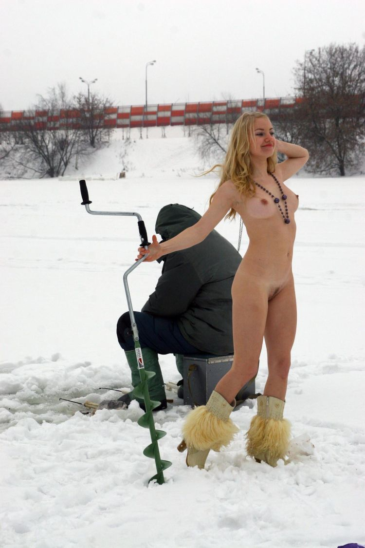 Naked blonde on a winter fishing - 05