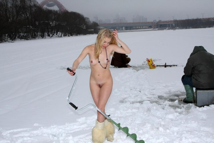 Naked blonde on a winter fishing - 18