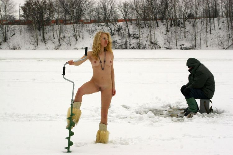 Naked blonde on a winter fishing - 24