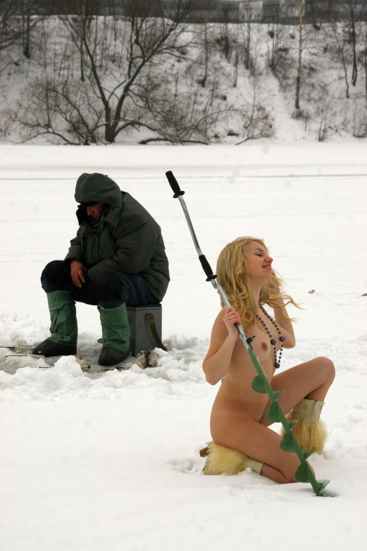 Naked blonde on a winter fishing - 28