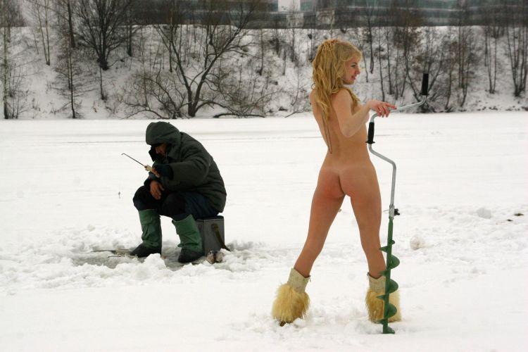 Naked blonde on a winter fishing - 31