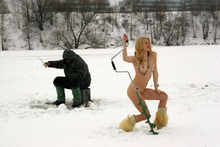 Naked blonde on a winter fishing - 32