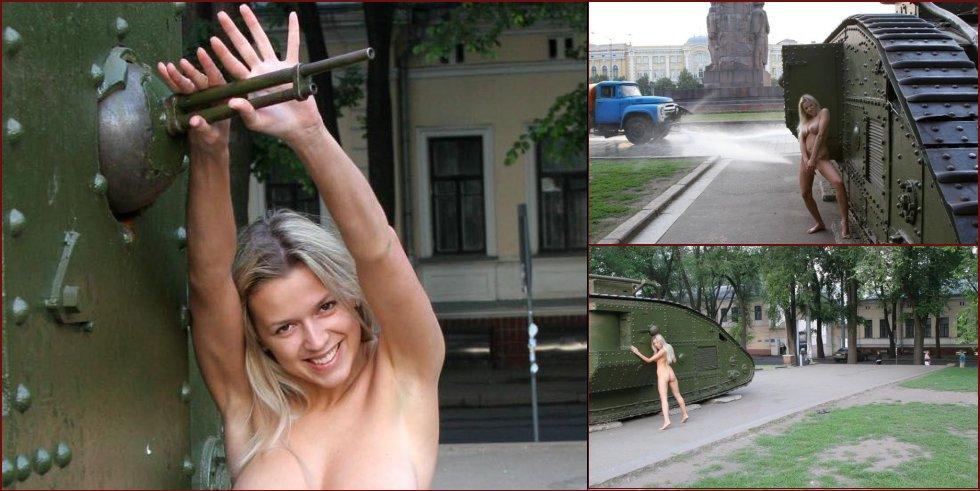 Ukrainian girl and an old tank - 6