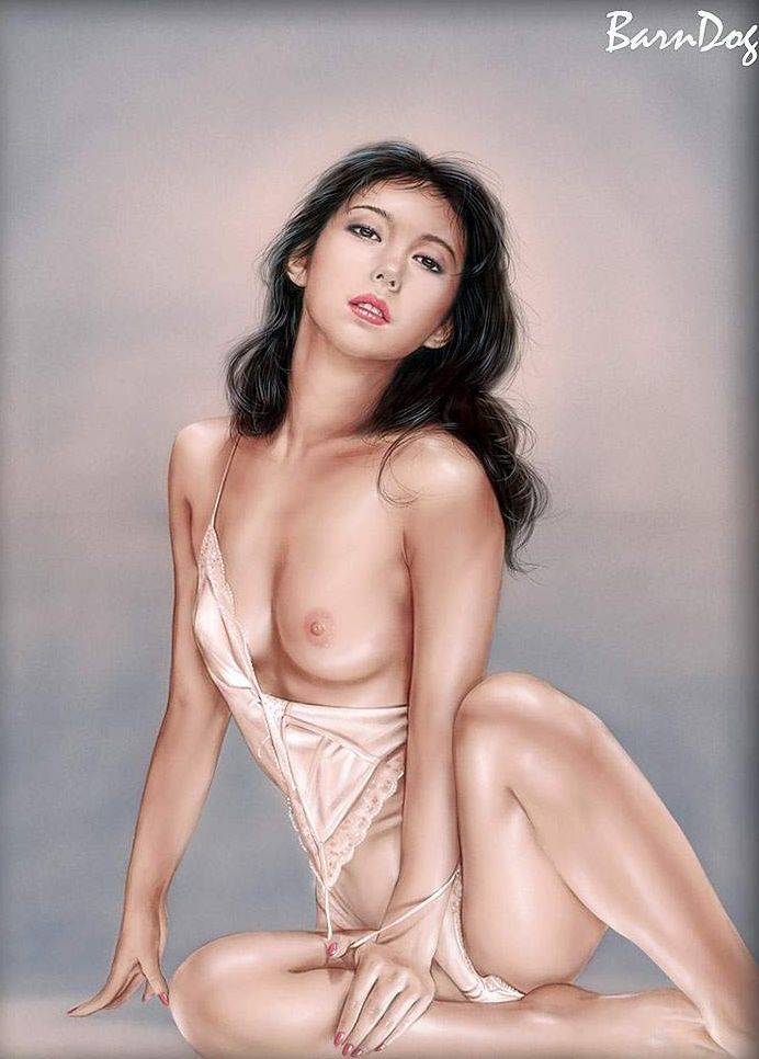 Sensual Asian girls in erotic drawings of Barn Dog - 16