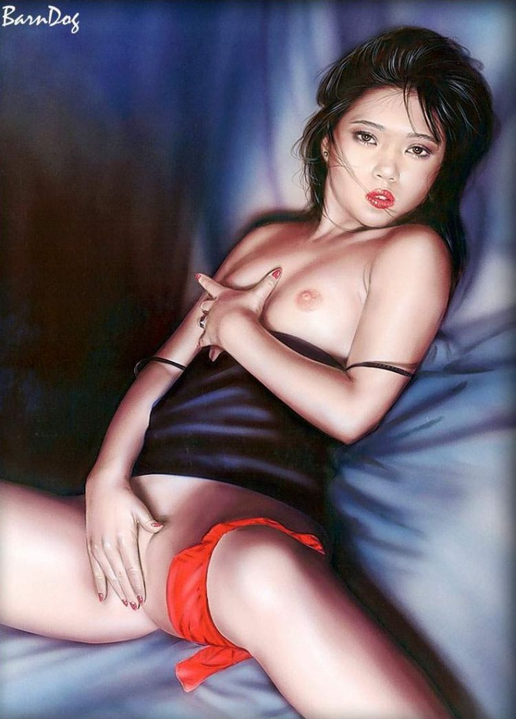 Sensual Asian girls in erotic drawings of Barn Dog - 17