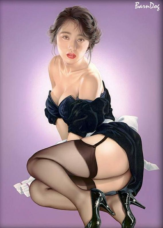 Sensual Asian girls in erotic drawings of Barn Dog - 47