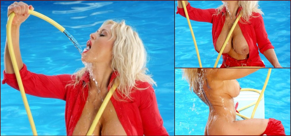 Busty blonde Sasha is having fun with a hose - 7