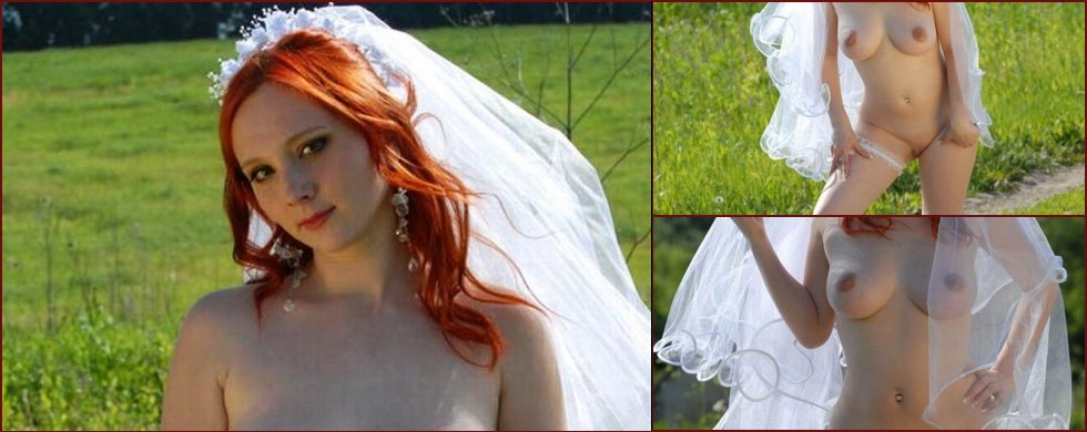 Red-haired bride on a green lawn - 15