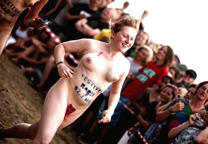Naked sprint at the Roskilde Music Festival - 14