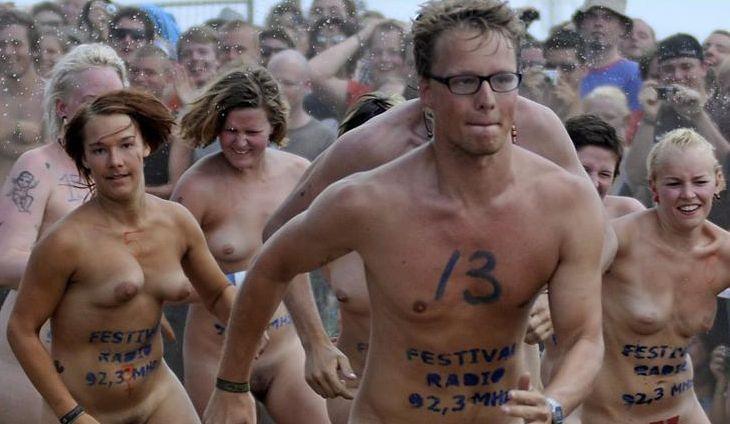 Naked sprint at the Roskilde Music Festival - 16