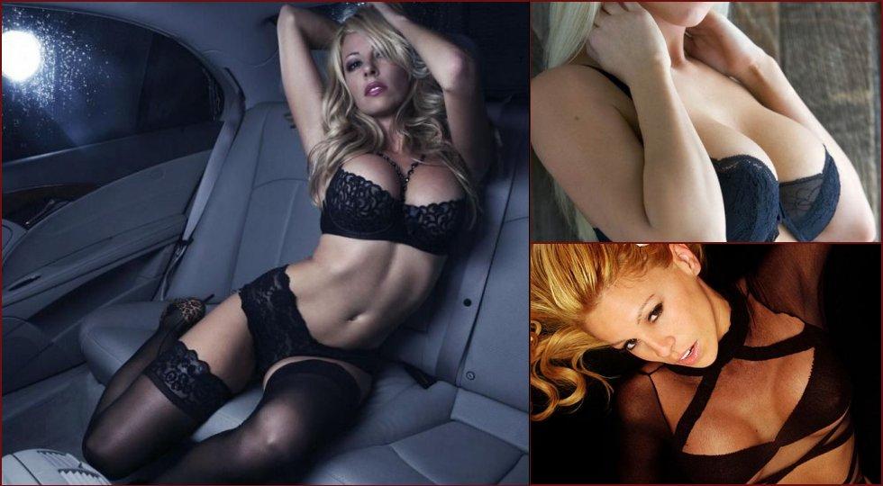 Blonde in black lingerie - seductive contrast - 10